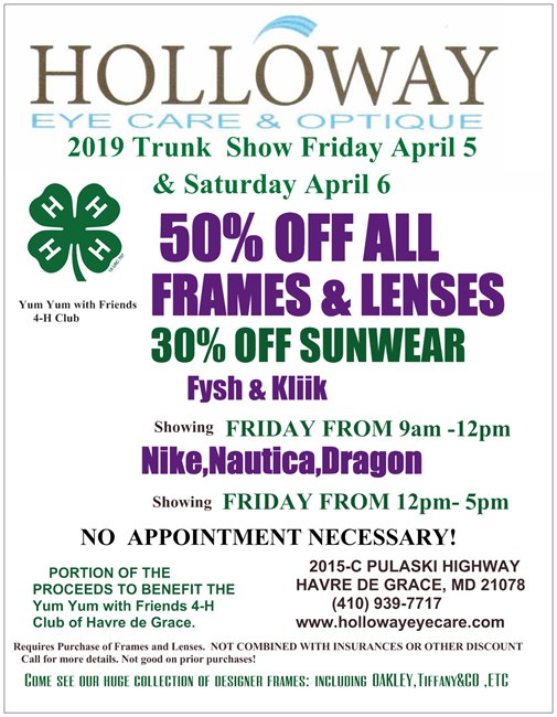 Holloway Eyecare Spring 2019 Trunk show flyer